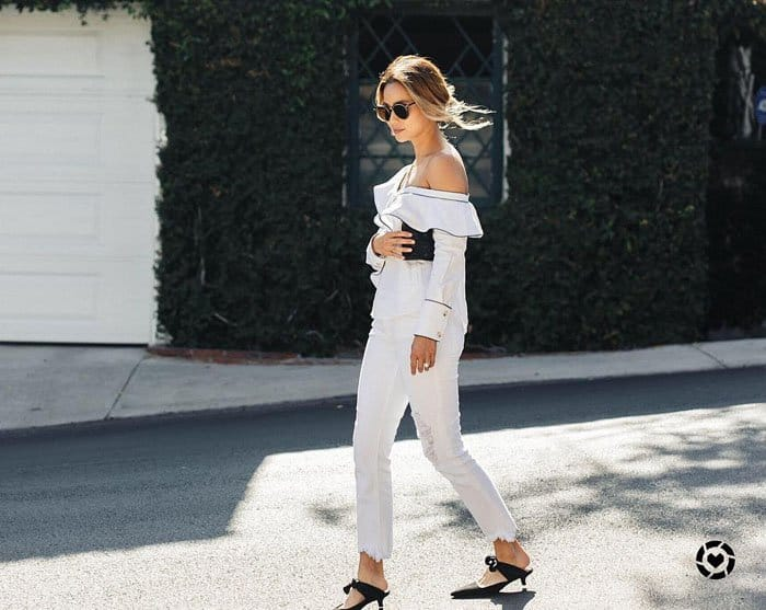 Jamie Chung mixes and matches her Coco mules with other outfits