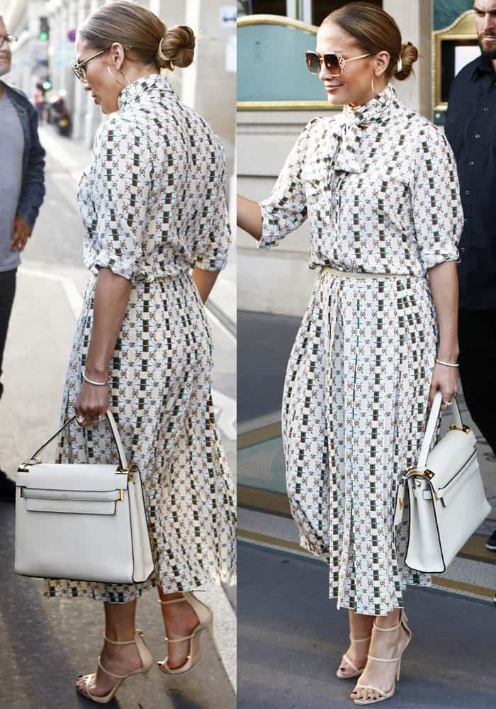 J.Lo steps out in a monogram Gucci dress for a romantic lunch