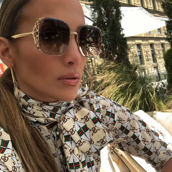 J.Lo shows off her flawless makeup and Elie Saab sunglasses on Instagram