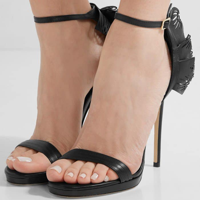 Jimmy Choo Kelly laser-cut ruffled-trimmed leather sandals