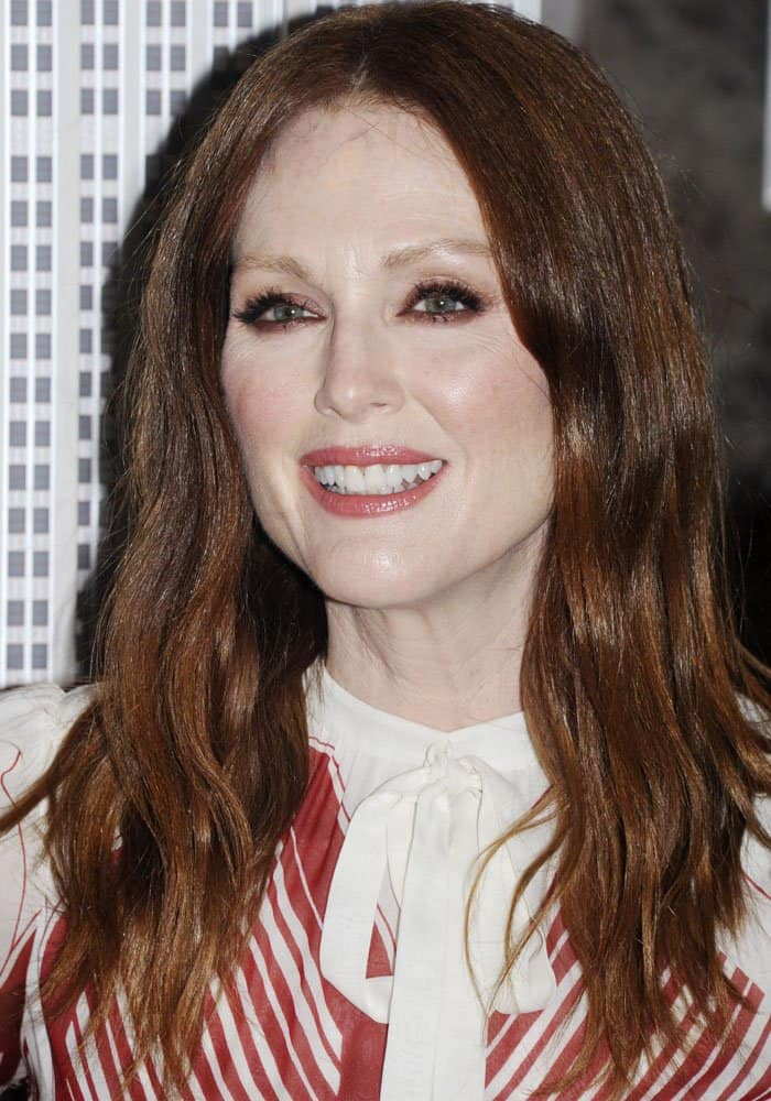 Julianne Moore lights the Empire State Building to honor National Gun Violence Awareness Day in New York on June 1, 2017