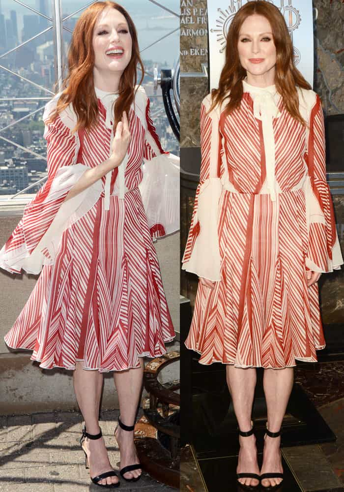 Julianne wore a printed dress from Giambattista Valli