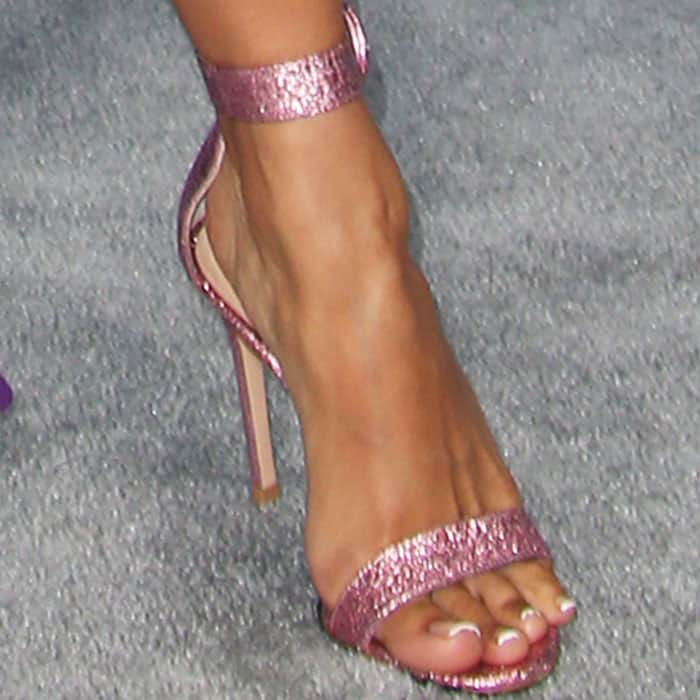 """Karrueche goes all out girly with the pink glitter Gianvito Rossi """"Portofino"""" sandals"""