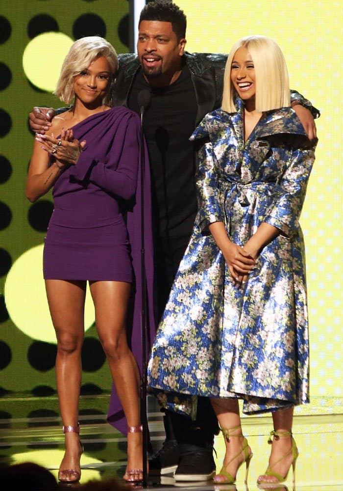 Karrueche presents an award at the 2017 BET Awards