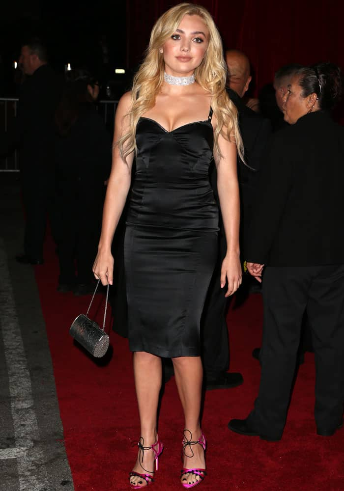 Peyton goes for the classic little black dress at the Maxim event