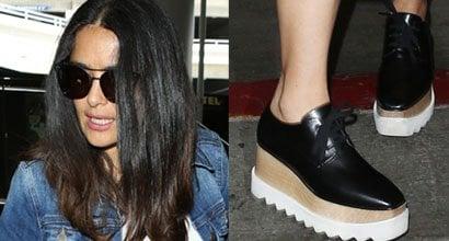 a70ca55377 Salma Hayek Departs LAX in Stella McCartney  Elyse  Sneakers