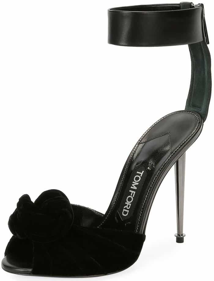 Tom Ford Velvet/Leather Knot Hardware-Heel Sandals