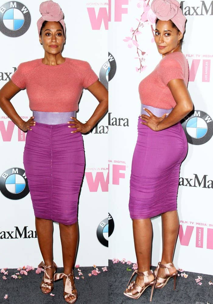 Tracee brings a pop of color to the event in a Max Mara outfit