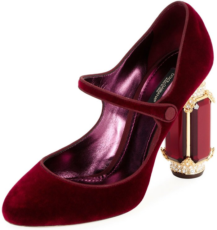 Velvet Mary Jane Pump with Jewel Heels