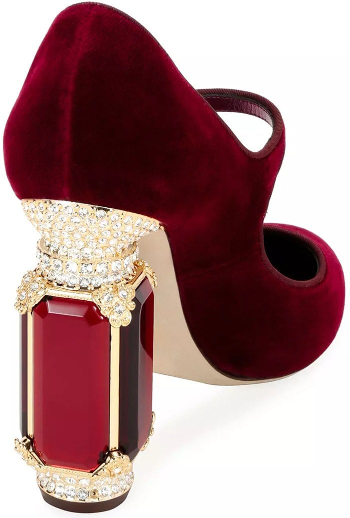 "This velvet Mary Jane pump from Dolce & Gabbana features a 4.3"" jeweled and crystal-embellished plexi heel"