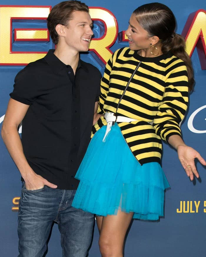 Zendaya poses with her co-star Tom Holland