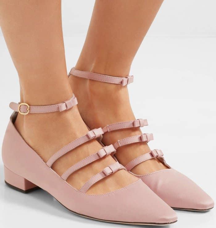 AlexaChung bow-embellished satin point-toe flats