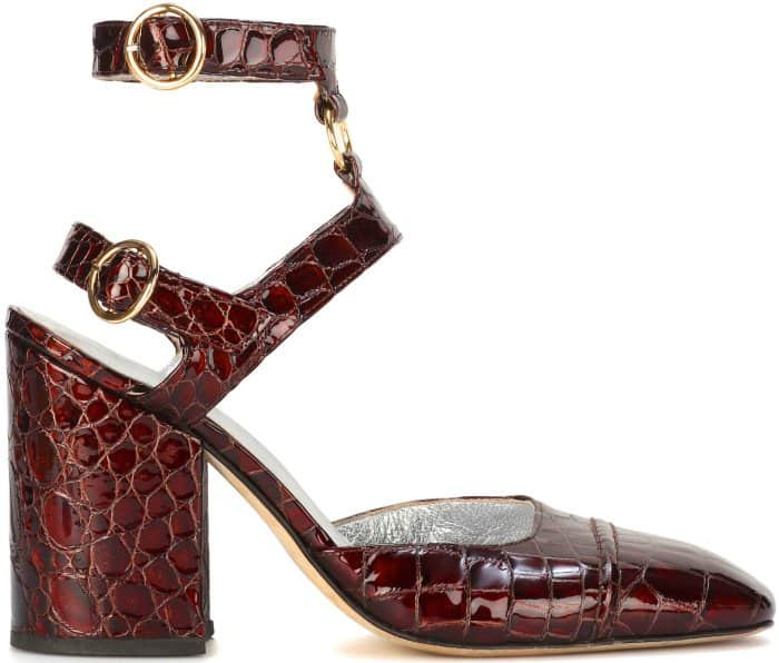 AlexaChung embossed leather pumps