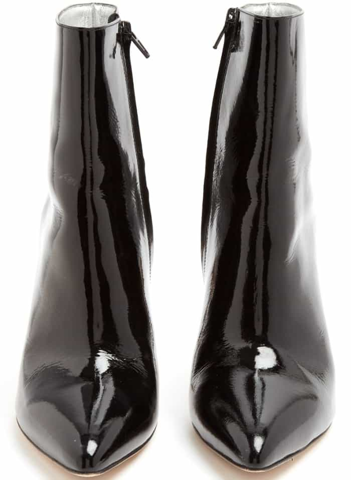 AlexaChung point-toe patent leather ankle boots