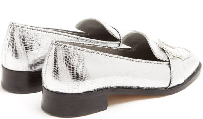 AlexaChung star-buckle leather loafers