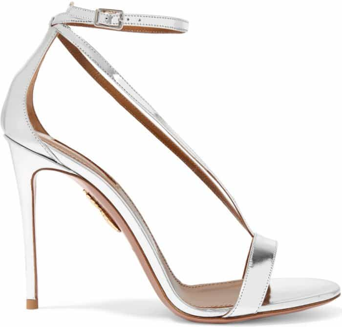 "Aquazzura ""Casanova"" Metallic Leather Sandals in Silver"