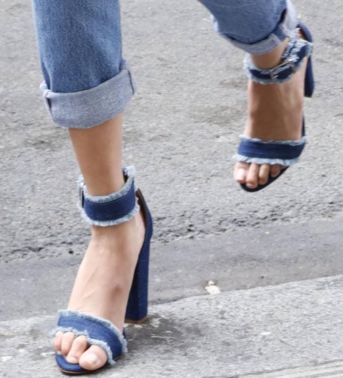 """Bella Hadid wearing Schutz """"Janessa"""" denim sandals in Paris"""