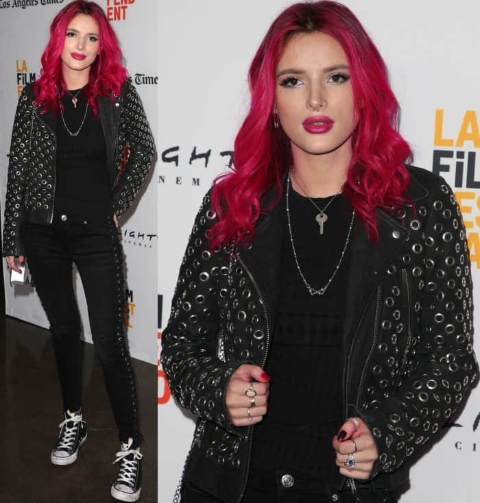"Bella Thorne wearing Converse Chuck Taylor All Star high top sneakers at the 2017 Los Angeles Film Festival screening of ""You Got Me"""