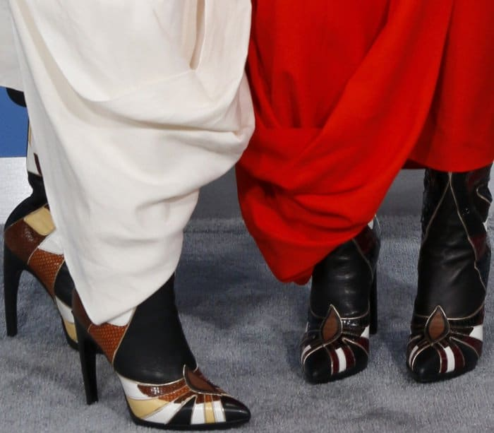 Chloe and Halle Bailey rockingRodarte boots with pointy toes and high heels