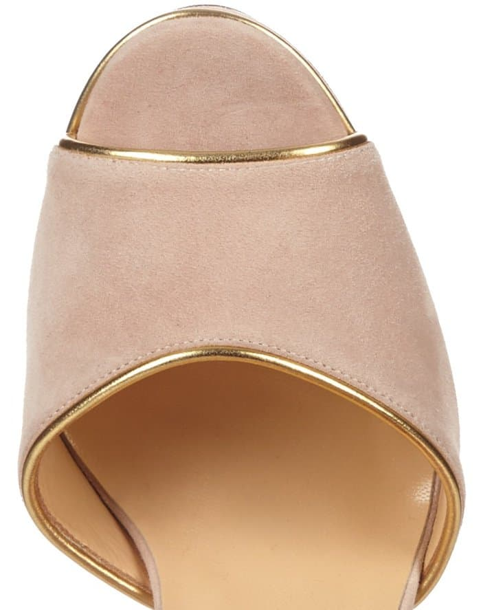 """Christian Louboutin """"Louloudance"""" Platform Sandals in Nude Pink Suede"""