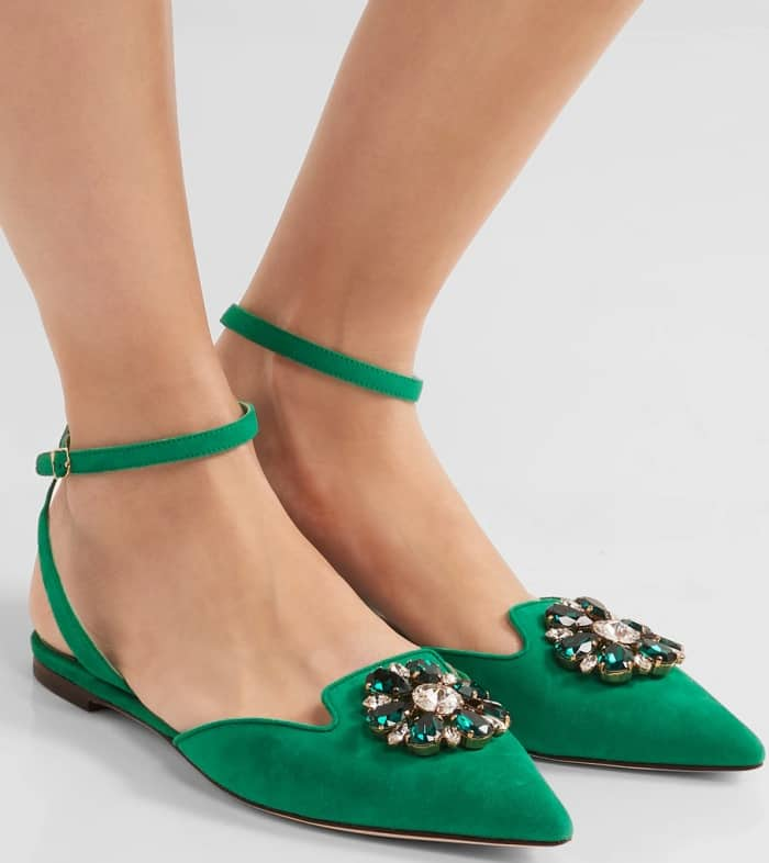 "Dolce & Gabbana ""Bellucci"" Crystal-Embellished Suede Point-Toe Flats"
