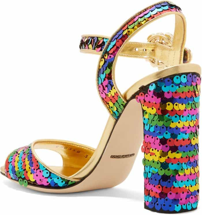 Dolce & Gabbana Crystal-Embellished Sequined Metallic Leather Sandals