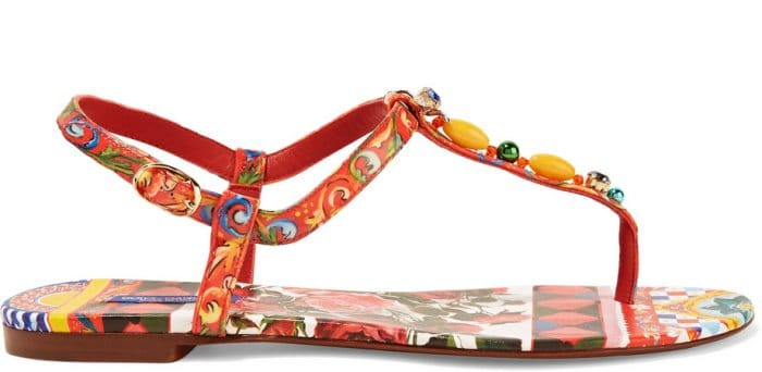 Dolce & Gabbana Embellished Printed Leather Sandals