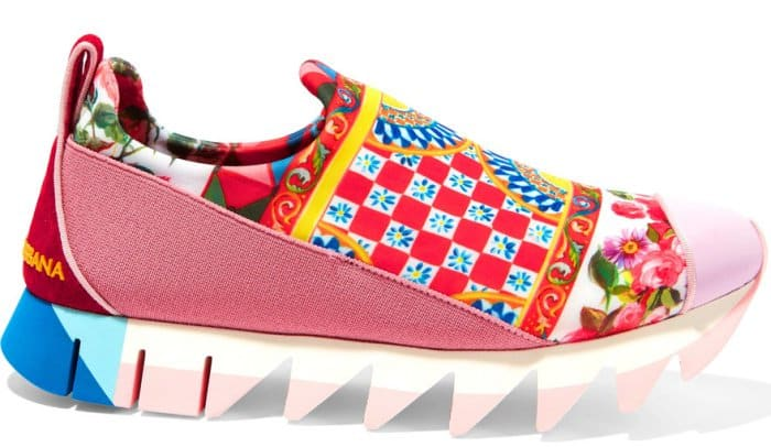 "Dolce & Gabbana ""Ibiza"" Suede-Trimmed Printed Neoprene Slip-On Sneakers"