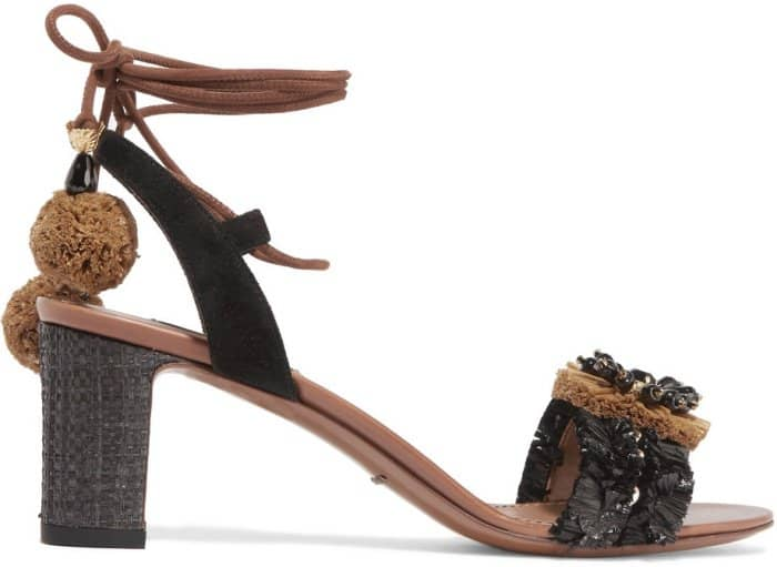 Dolce & Gabbana Suede and Raffia-Trimmed Embellished Leather Sandals