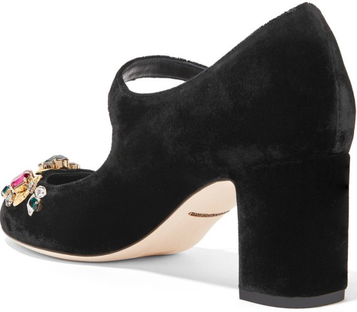 "Dolce & Gabbana ""Vally"" Embellished Velvet Mary Jane Pumps"