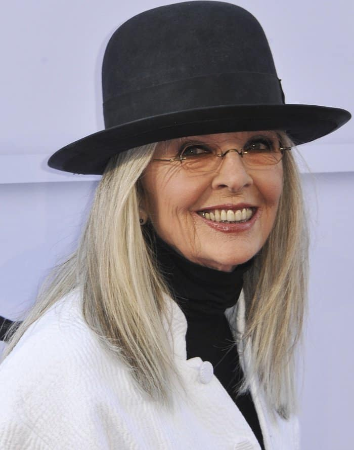 """Diane Keaton wearing a monochromatic ensemble styled with Louis Vuitton """"Star Trail"""" ankle boots at the 45th American Film Institute Life Achievement Award Gala Tribute"""