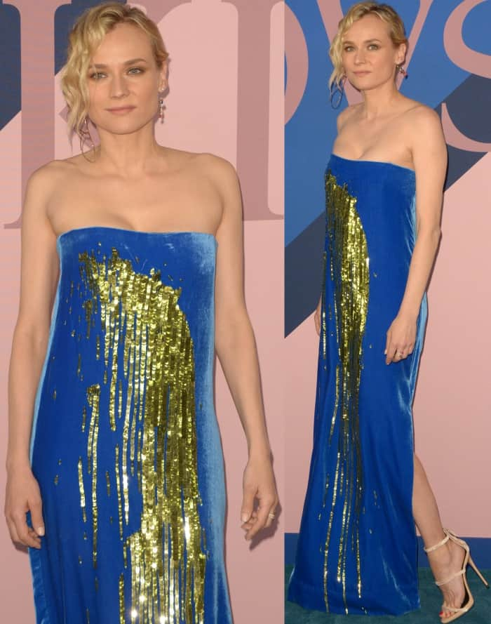 Diane Kruger flashed her legs in a blue velvet dress from Monse