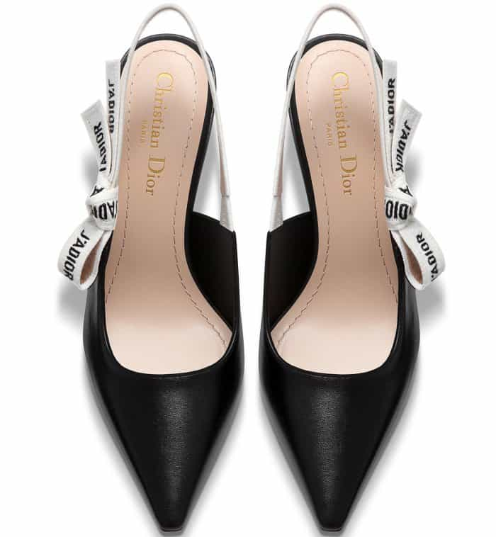 Dior Slingbacks in Black Lambskin Leather with J'Adior Ribbon