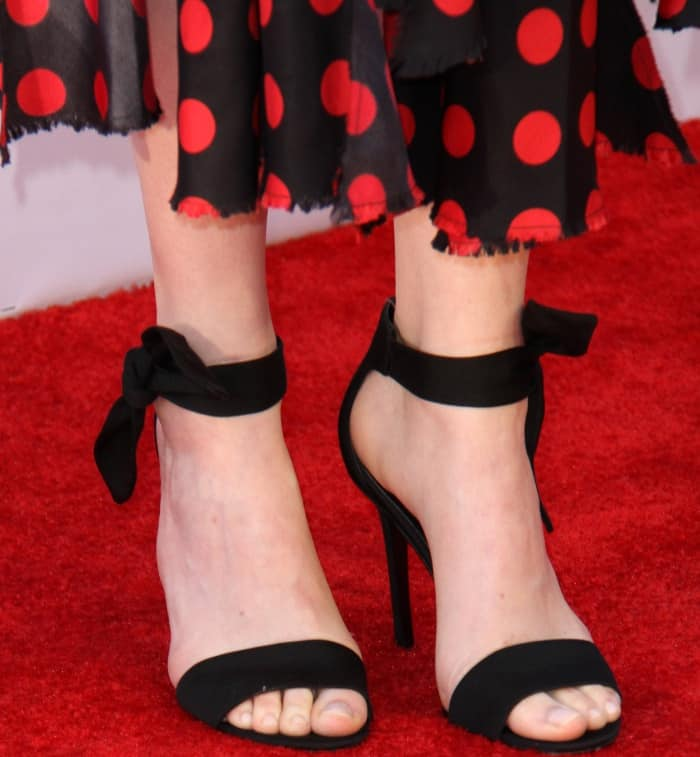 "Emma Stone wearing Stella Luna ""Carioca"" sandals at the 45th American Film Institute Life Achievement Award Gala Tribute to Diane Keaton"
