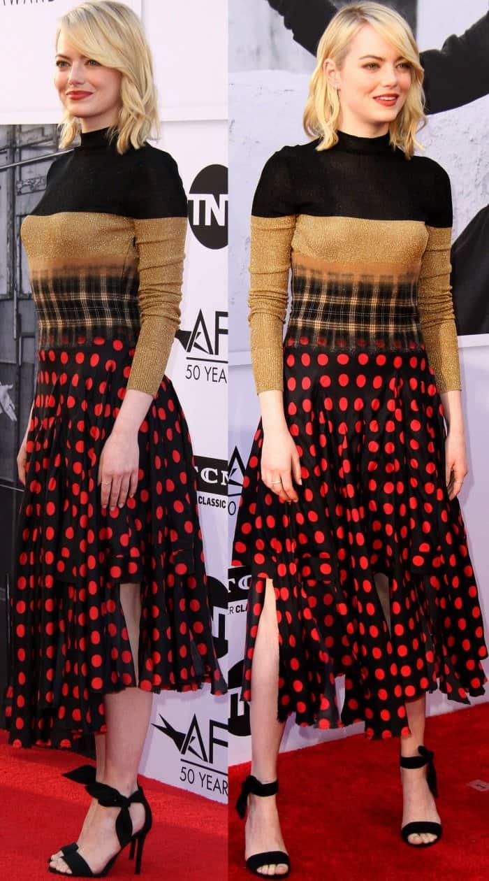 "Emma Stone wearing a Loewe Fall 2017 dress and Stella Luna ""Carioca"" sandals at the 45th American Film Institute Life Achievement Award Gala Tribute to Diane Keaton"