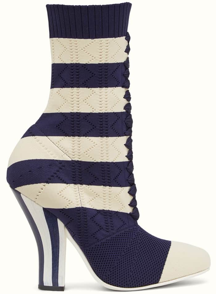Fendi boots in white and blue fabric