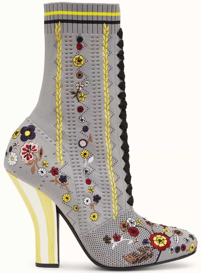 Fendi Boots in gray fabric with embroidery