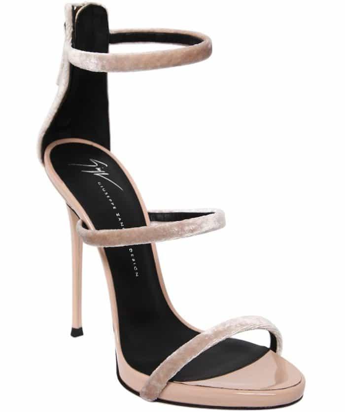 """Giuseppe Zanotti """"Harmony"""" Sandals in Blush Velvet"""