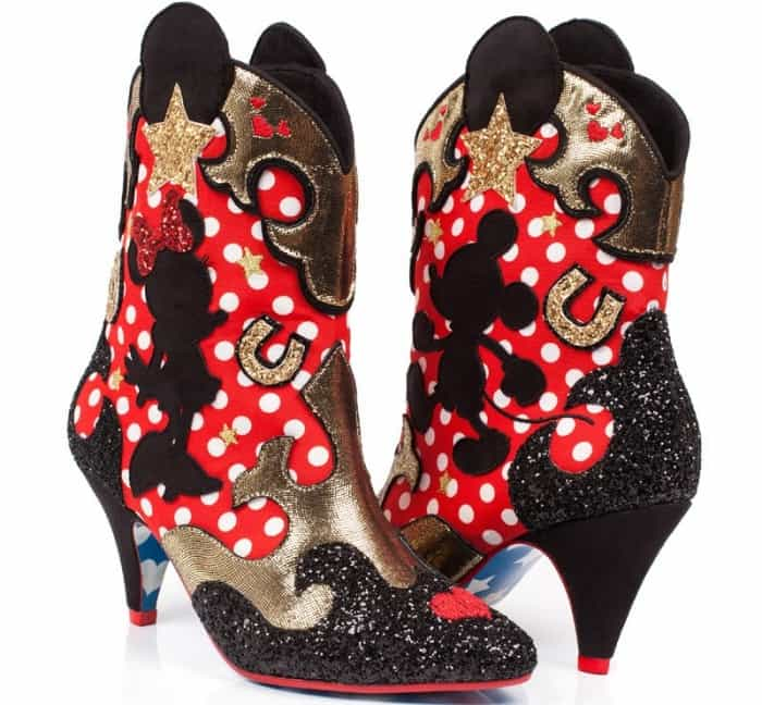 Make a daring fashion statement with these sparkly cowboy boots that feature Mickey and Minnie Mouse silhouettes