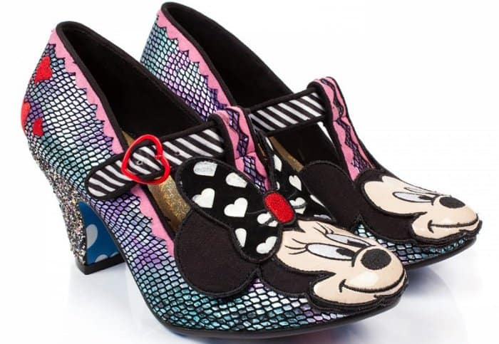 These T-bar heels feature a Mickey and Minnie Mouse outsole design