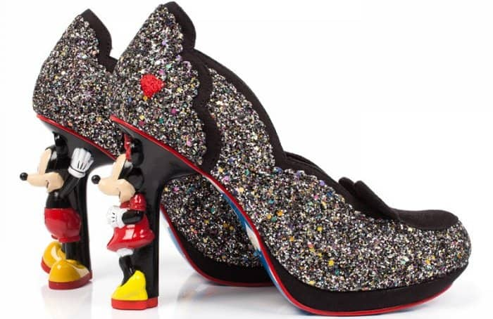 Sculptural high heels that feature Mickey and Minnie Mouse