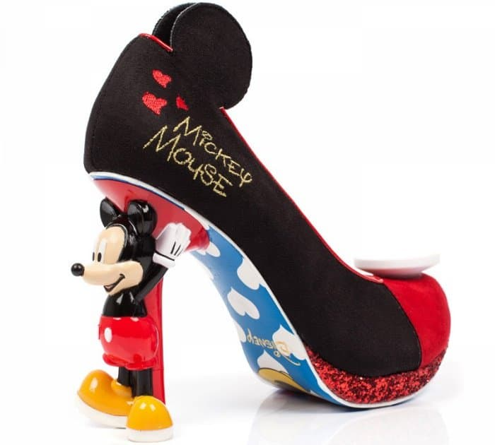 The Mickey Mouse heels feature red glitter-encrusted platforms, Mickey Mouse sculptural heels