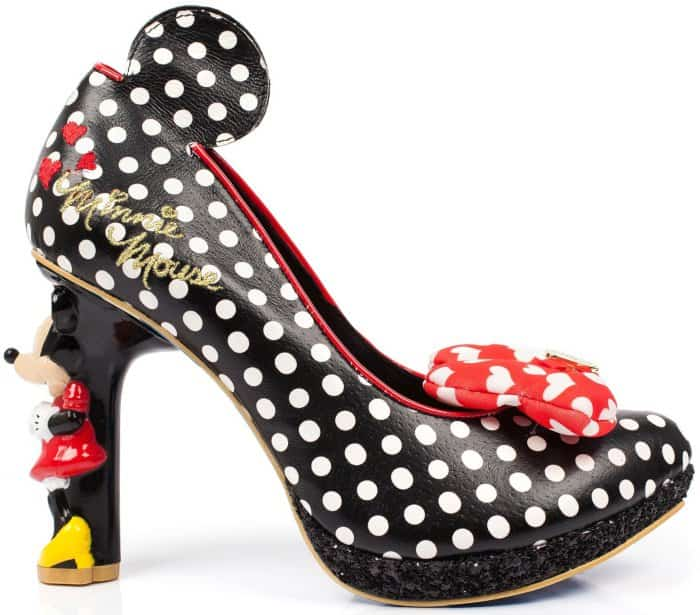"The ""Oh My"" pumps feature black glitter-encrusted platforms and Minnie Mouse sculptural high heels"