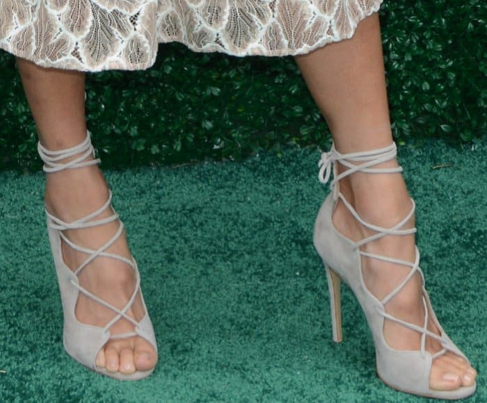 """Jamie Chung wearing the Storets """"Lihan"""" dress and M. Gemi """"Marea"""" heels at the 10th annual Veuve Clicquot Polo Classic"""