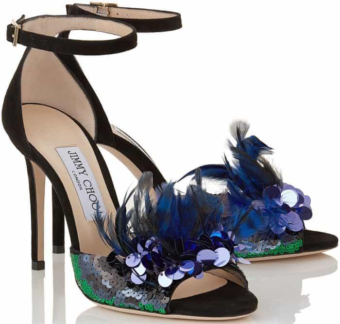 "Jimmy Choo ""Annie 100 embellished suede sandals"