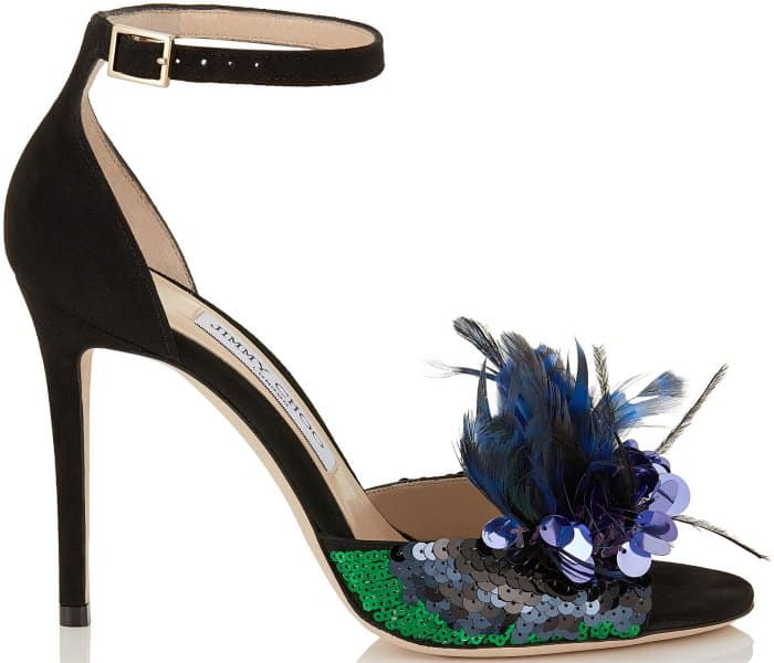 """Jimmy Choo """"Annie"""" black suede and blue mix feather embroidery peep-toe sandals"""