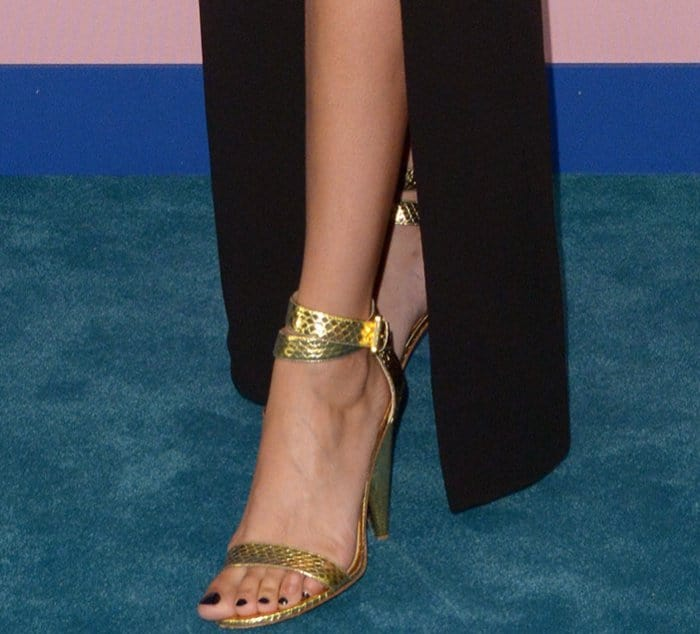 Joan Smalls' hot toes in wraparound ankle strap heels