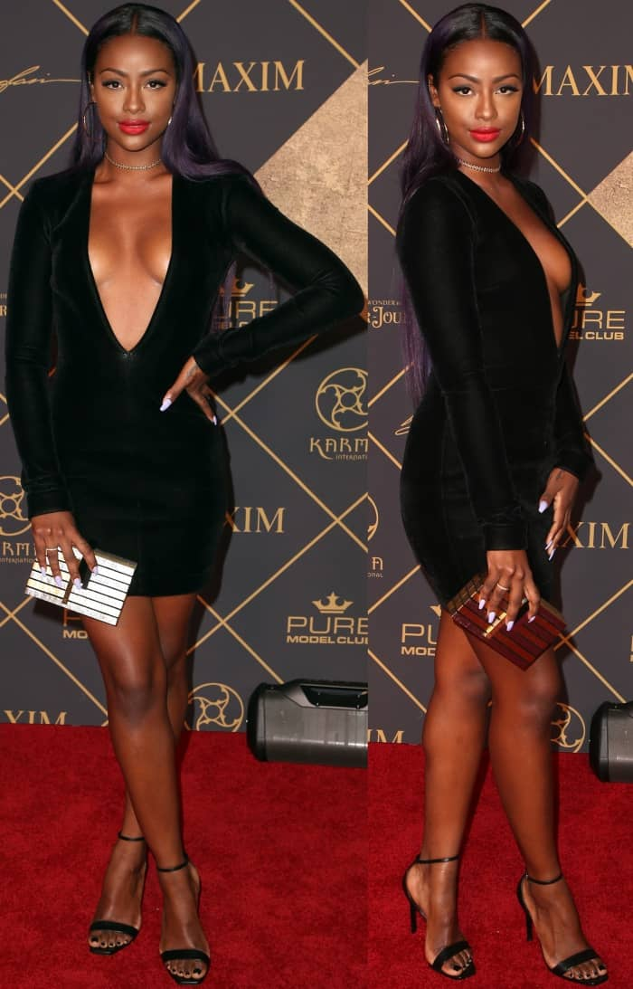 """Justine Skye wearing a LaQuan Smith dress and Saint Laurent """"Amber"""" sandals at the 2017 Maxim Hot 100 Party"""