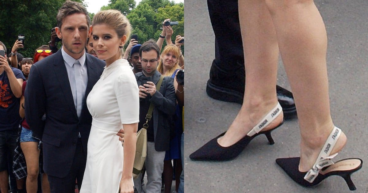 a99410dae7e Kate Mara in Black Lambskin Dior Slingbacks With J'Adior Ribbon