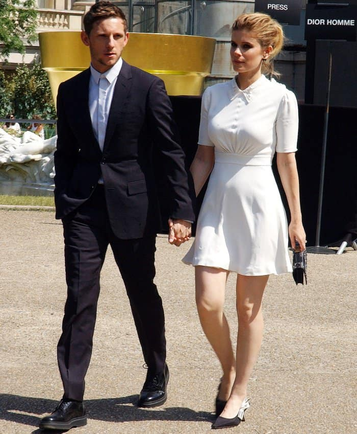 Jamie Bell and Kate Mara in head-to-toe Dior at the Dior Homme Spring/Summer 2018 show during Paris Fashion Week